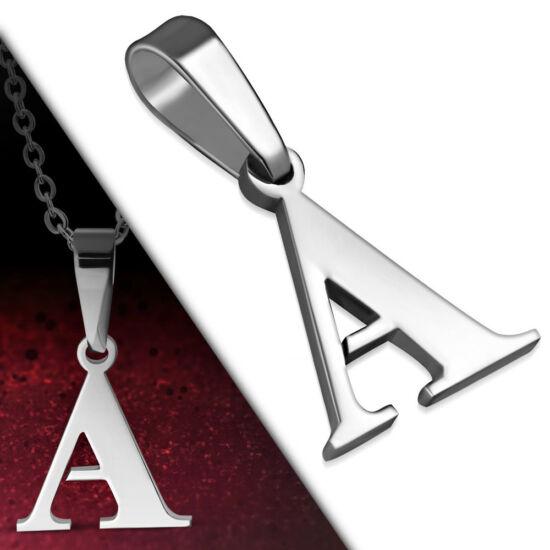"""Ezüst színű, nemesacél betű medál """"A"""""""