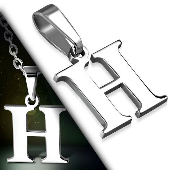 """Ezüst színű, nemesacél betű medál """"H"""""""