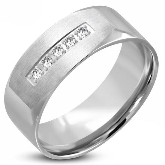 Ezüst színű nemesacél gyűrű ékszer cirkónia kristállyal