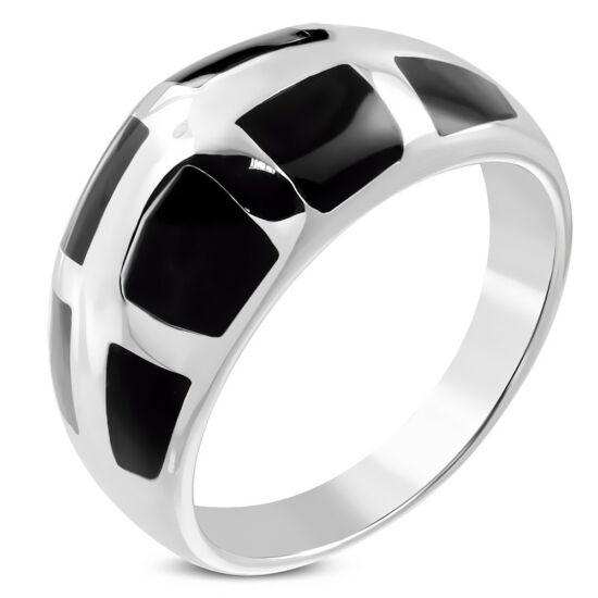 Ezüst színű nemesacél gyűrű, fekete mintával-8