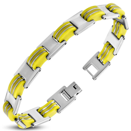 Ezüst színű nemesacél karlánc sárga színű kaucsuk dísszel