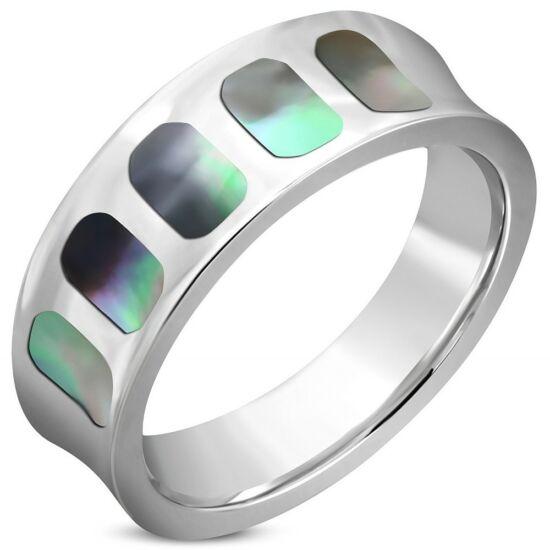 Ezüst színű, ovális mintás nemesacél gyűrű