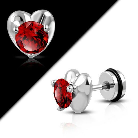 Ezüst színű, szív alakú nemesacél piercing ékszer, piros cirkónia kristállyal