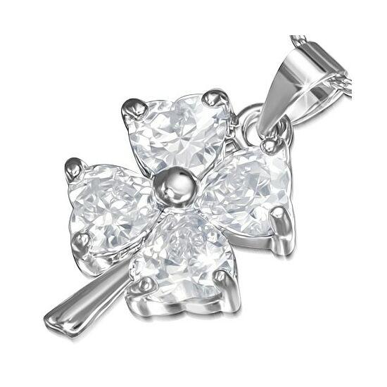 Ezüst színű, virág alakú divatos nyaklánc cirkónia kristállyal