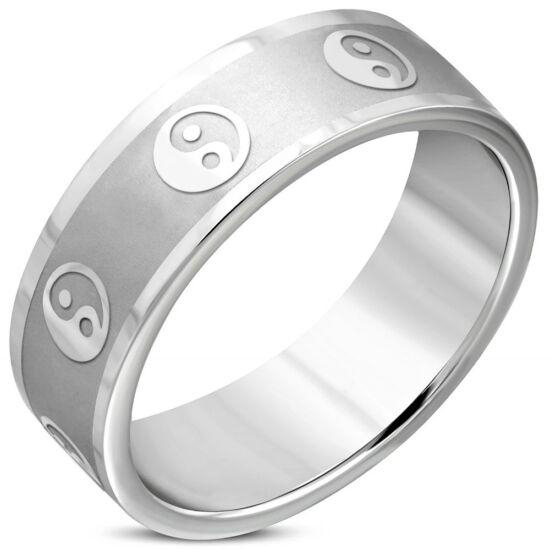 Ezüst színű, Yin-Yang mintás nemesacél gyűrű ékszer