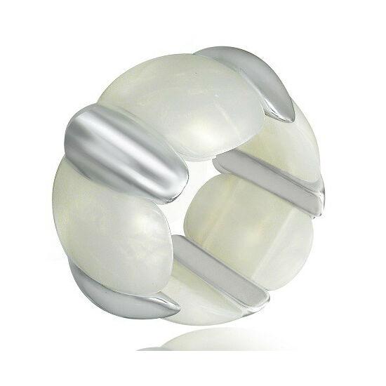Fehér - ezüst színű, rugalmas akril karkötő