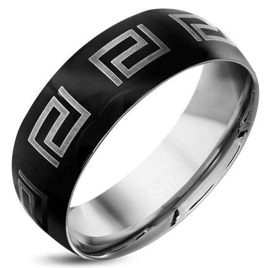 Fekete és ezüst színű, görög mintás nemesacél gyűrű ékszer