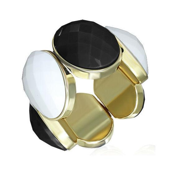 Fekete - krémszínű, rugalmas divatos karkötő
