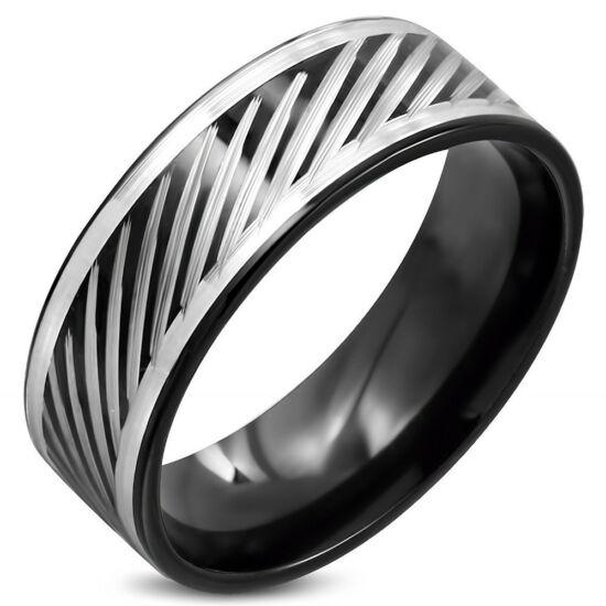 Fekete  nemesacél gyűrű ékszer