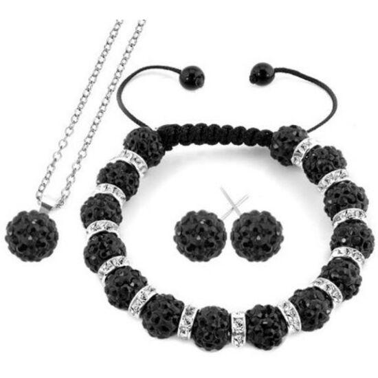 Fekete shamballa kristályos ékszer szett