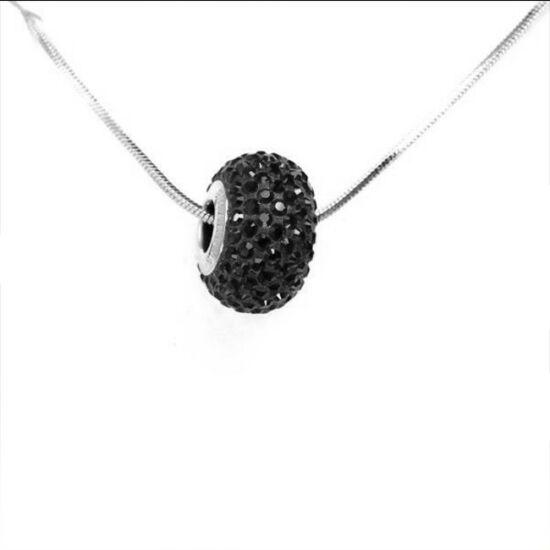 fekete Swarovski® kristályos Nyaklánc - Pavé Beads 14 mm, Jet Hematite + Díszdoboz