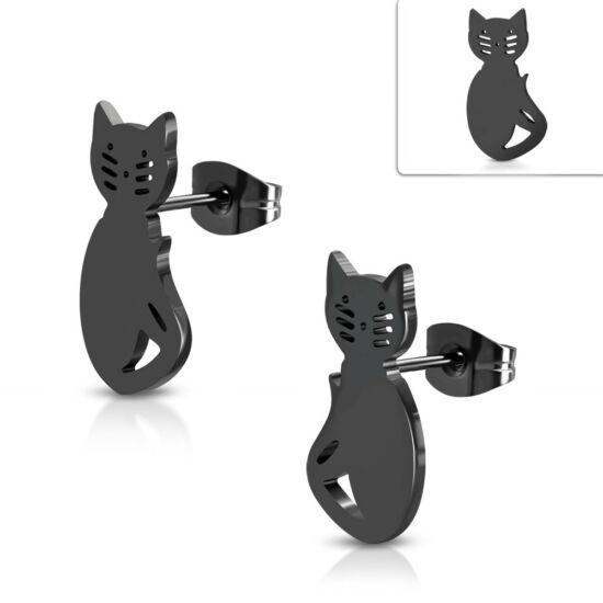 Fekete színű, cica alakú nemesacél fülbevaló ékszer