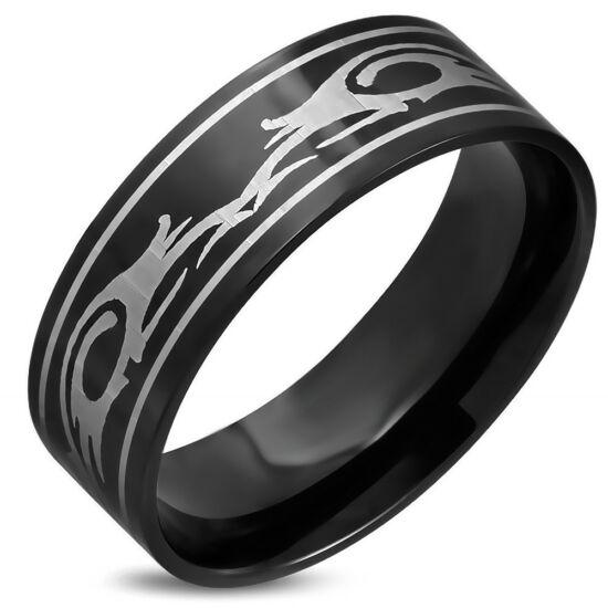 Fekete színű, nonfiguratív mintás nemesacél gyűrű ékszer