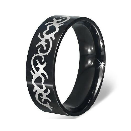 Fekete színű, szív mintájú nemesacél gyűrű ékszer