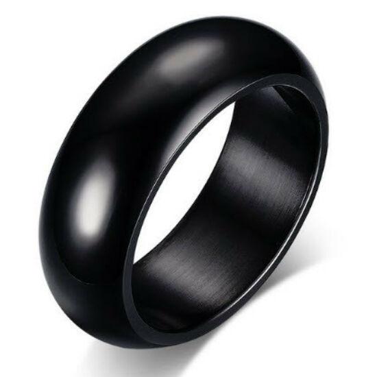 Fekete színű, tükörfényes nemesacél gyűrű-6