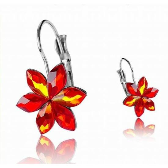 Fire Opal Swarovski® kristályos nemesacél fülbevaló