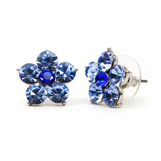 Flamo Swarovski kristályos virág  fülbevaló - Kék