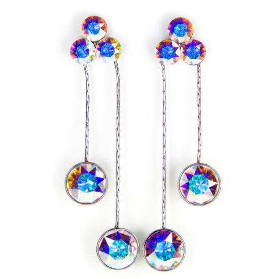 Flower Swarovski kristályos nemesacél fülbevaló - Crystal AB