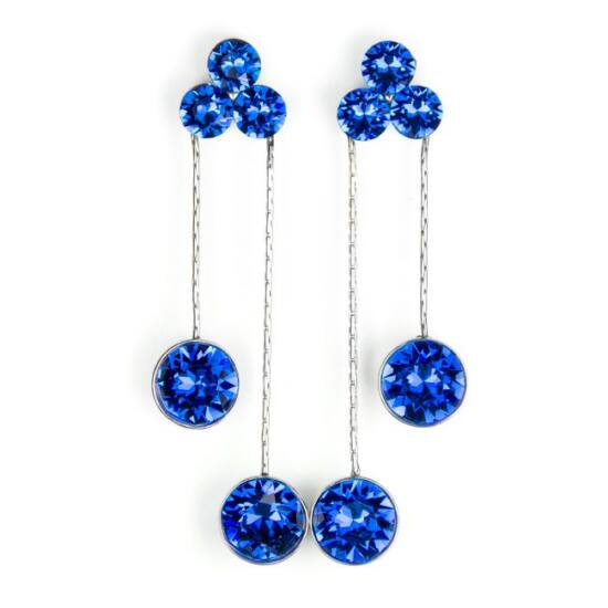 Flower Swarovski kristályos nemesacél fülbevaló - Kék