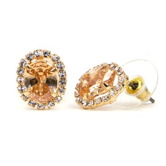 Gloria Swarovski kristályos fülbevaló - Borostyán szinű kővel