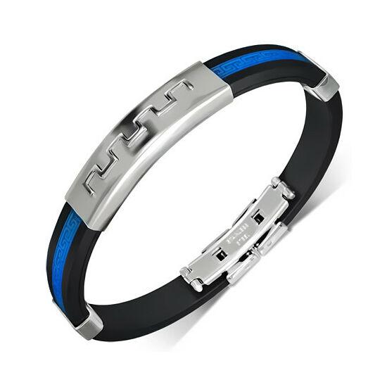 Gravírozható kaucsuk karkötő ékszer kék betéttel