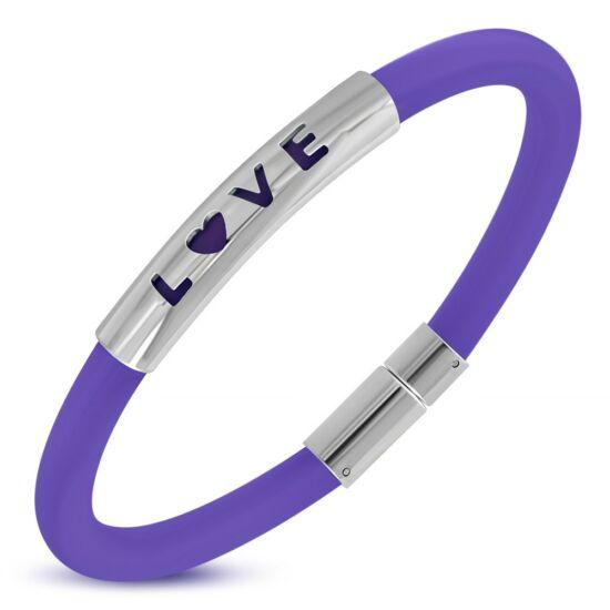 Gravírozható kaucsuk karkötő ékszer lila, LOVE felirattal