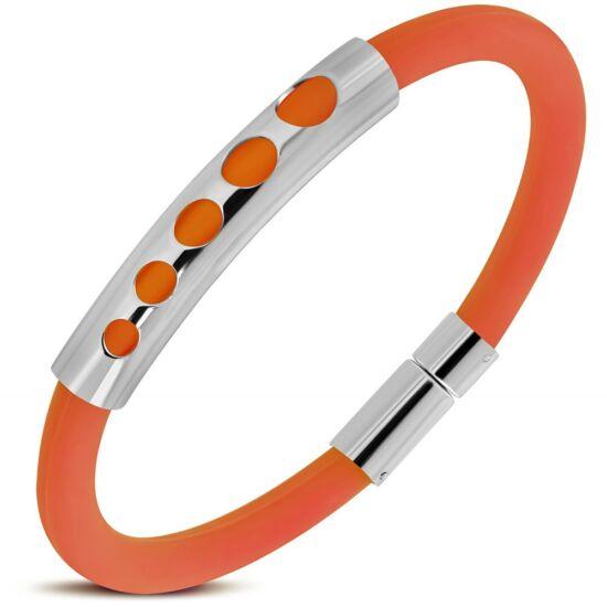 Gravírozható kaucsuk karkötő ékszer narancssárga