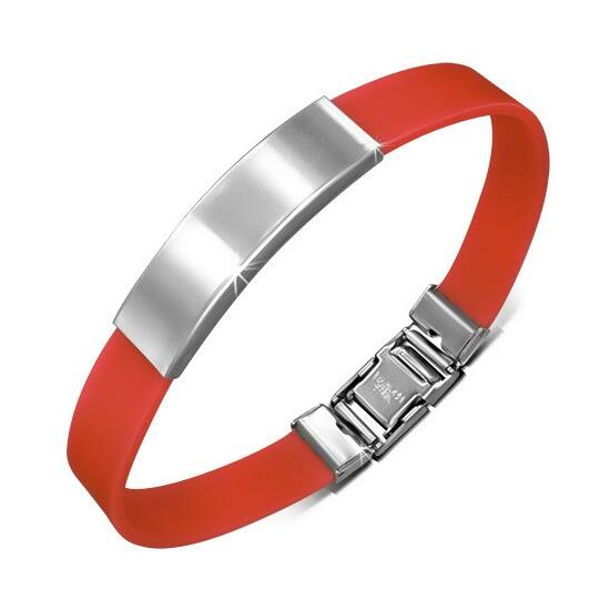 Gravírozható kaucsuk karkötő ékszer piros színben