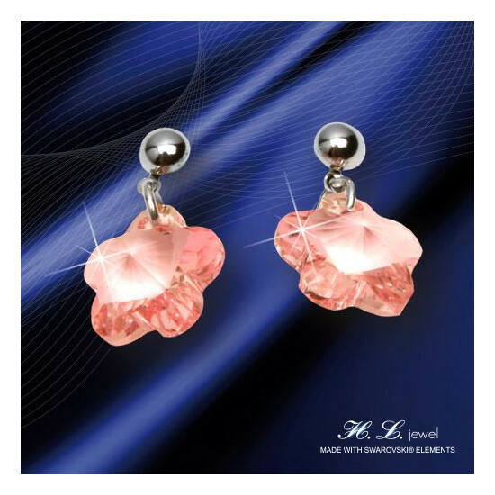 H. L. Jewel Swarovski® kristályos fülbevaló - Virág rózsaszín