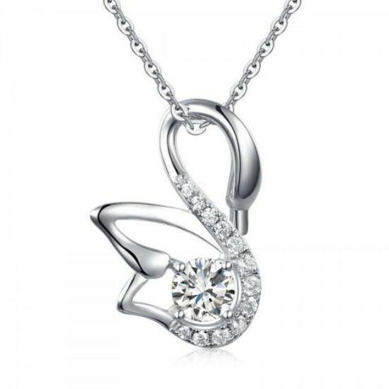 Hattyú alakú ezüst gyémánt nyaklánc - 925 ezüst ékszer