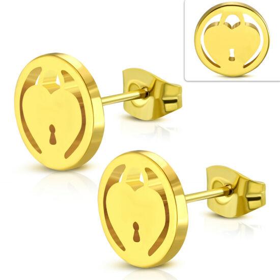Heart in padlock arany színű nemesacél fülbevaló