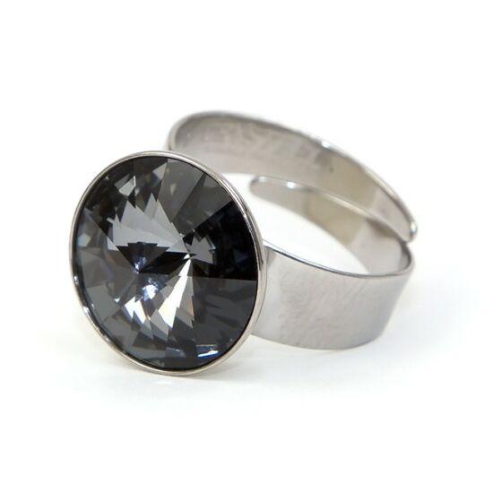 Hold Swarovski® kristályos nemesacél gyűrű - Silver Night