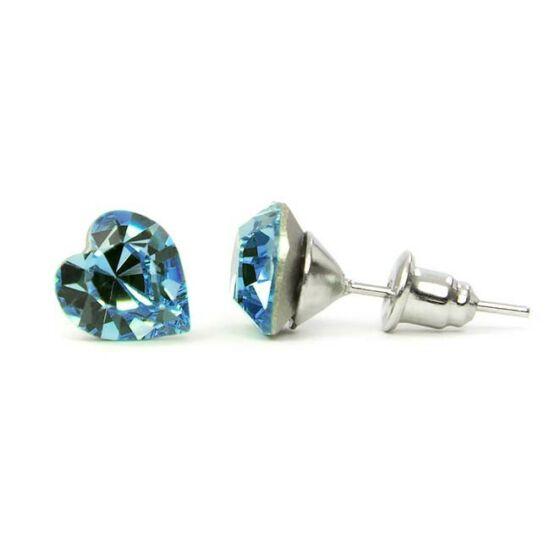 Jazzy SWAROVSKI® kristályos fülbevaló - Szív Világoskék