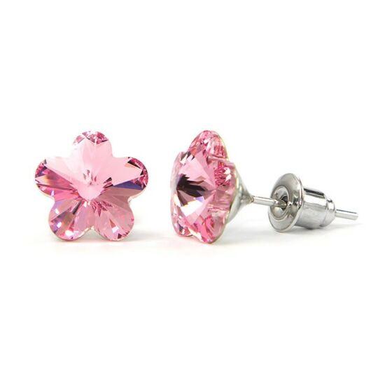 Jazzy Swarovski® kristályos fülbevaló - Virág, Light Rose