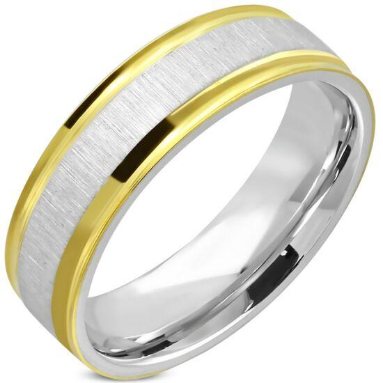 Kata nemesacél gyűrű arany csíkokkal