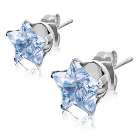Kék csillag alakú kővel díszített nemesacél fülbevaló ékszer