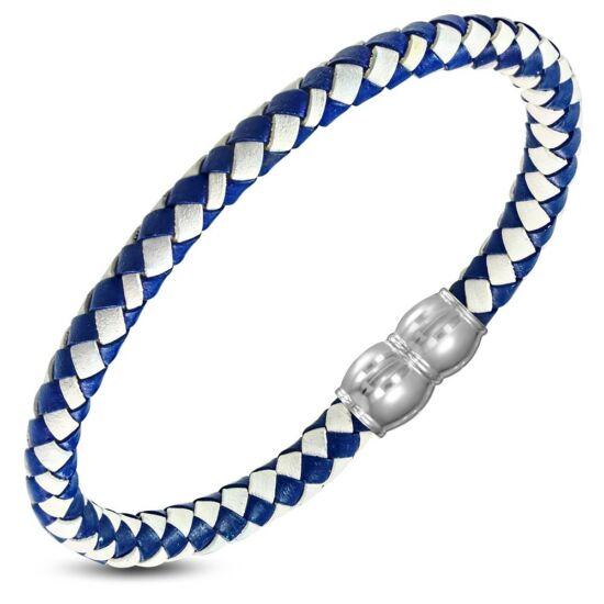 Kék és fehér színű, fonott bőr nemesacél karlánc
