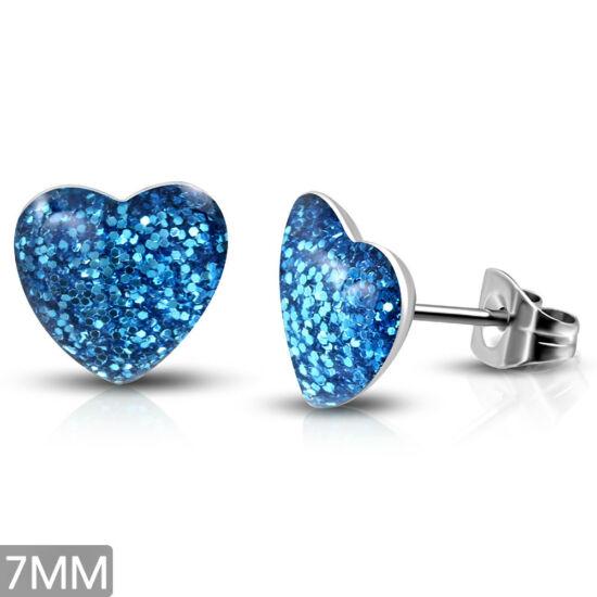Kék kristály mintás, szív alakú nemesacél fülbevaló ékszer