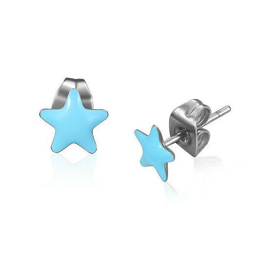 Kék színű, csillag formájú pont nemesacél fülbevaló ékszer