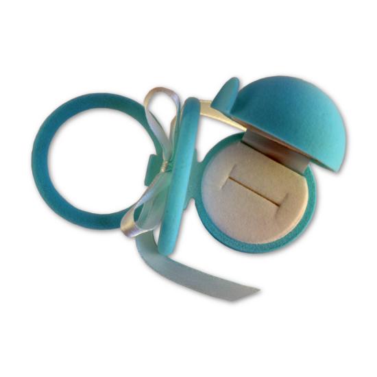 Kék színű, cumi alakú ékszertartó doboz