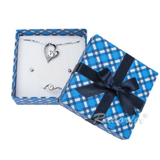 Kék színű ékszerszett tartó doboz, masni dísszel