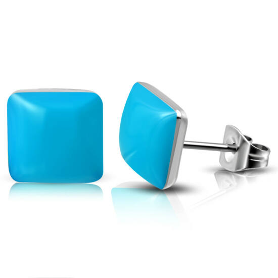 Kék színű négyzet alakú nemesacél fülbevaló ékszer
