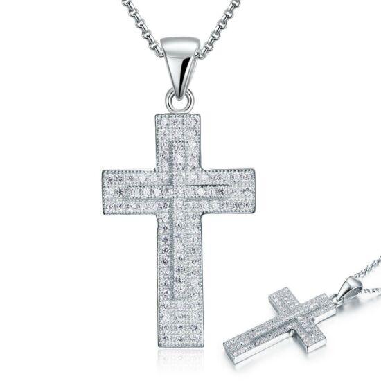 Kereszt alakú szintetikus gyémánt nyaklánc - 925 ezüst ékszer