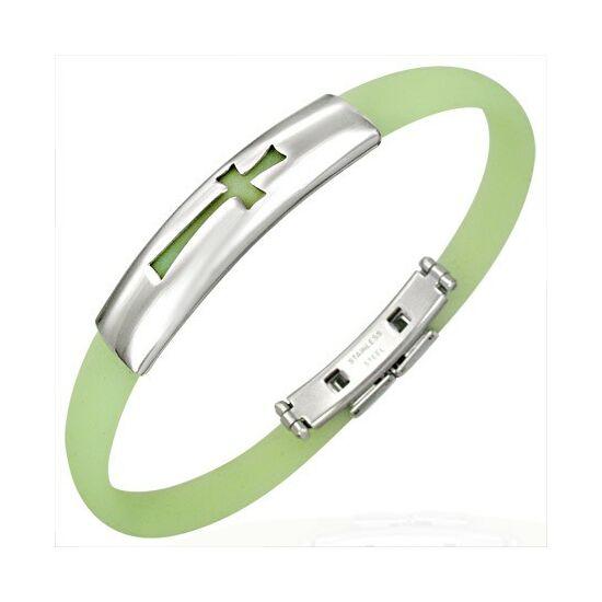 Kereszt mintás kaucsuk karkötő ékszer zöld