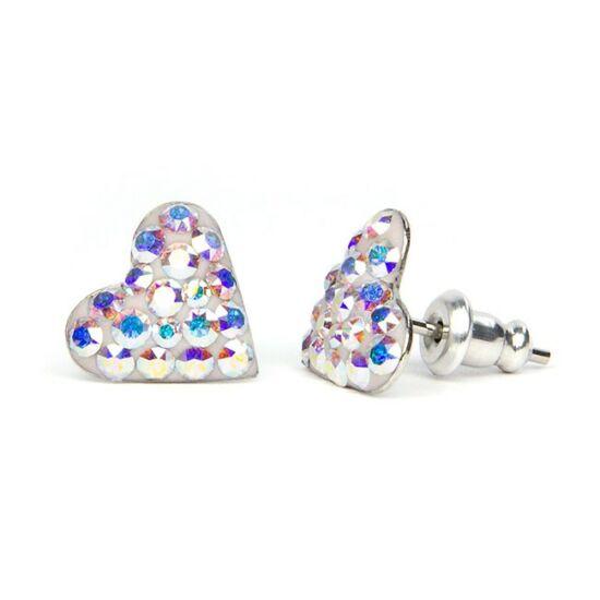 Kicsi szíves Swarovski® kristályos nemesacél fülbevaló - Crystal AB