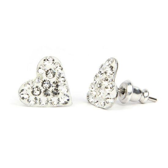 Kicsi szíves Swarovski® kristályos nemesacél fülbevaló - Crystal