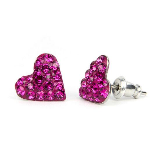 Kicsi szíves Swarovski® kristályos nemesacél fülbevaló - Fuchsia