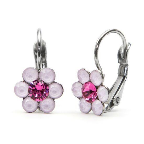 Kis virágos Swarovski® kristályos nemesacél fülbevaló - rózsaszín