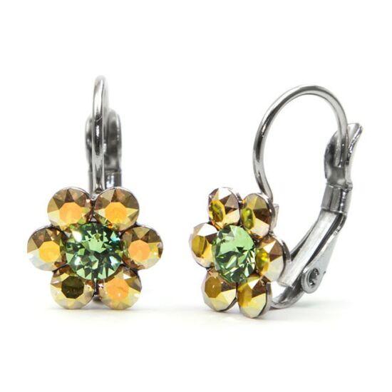 Kis virágos Swarovski® kristályos nemesacél fülbevaló - sárga