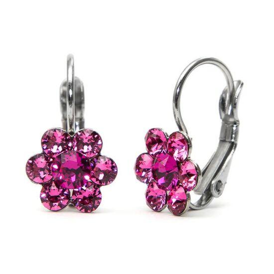 Kis virágos Swarovski® kristályos nemesacél fülbevaló - sötét rózsaszín